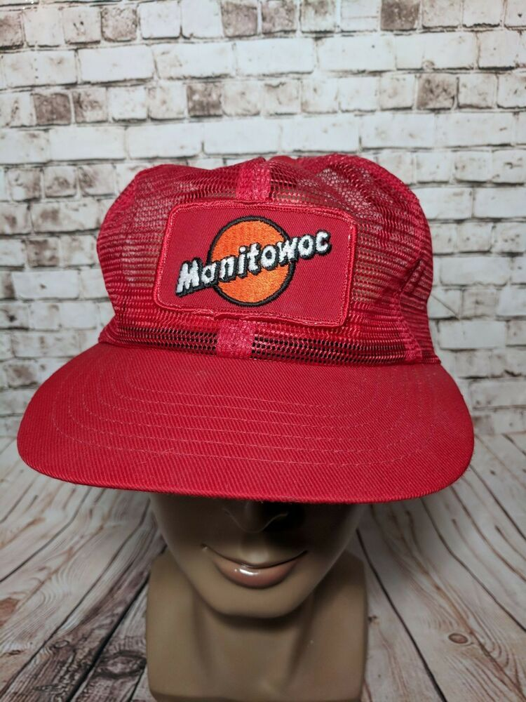 Vintage 80s MANITOWOC Cranes Construction PATCH mesh trucker hat cap  SnapBack  fashion  clothing   d1be19d6f