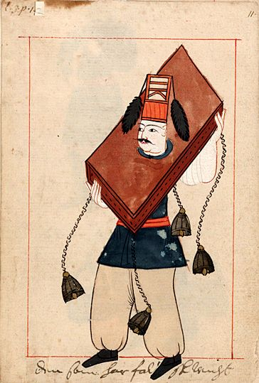 """""""He who has false weights""""  """"Den som har falsk wicht""""   Punishment for dishonest traders.  The 'Rålamb Costume Book' is a small volume containing 121 miniatures in Indian ink with gouache and some gilding, displaying Turkish officials, occupations and folk types. They were acquired in Constantinople in 1657-58 by Claes Rålamb who led a Swedish embassy to the Sublime Porte, and arrived in the Swedish Royal Library / Manuscript Department in 1886."""