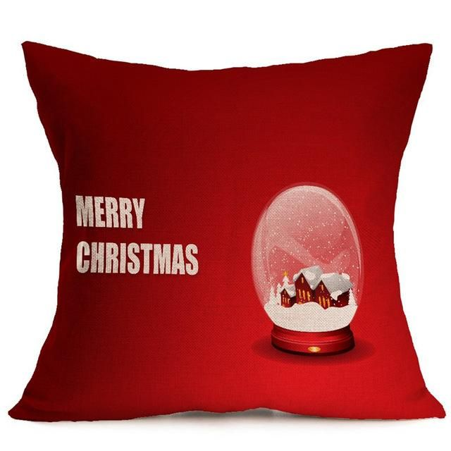 1Pcs Hot Christmas Decorations For Home Reindeer Jute Pillow Cover Case MERRY CHRISTMAS Square Linen