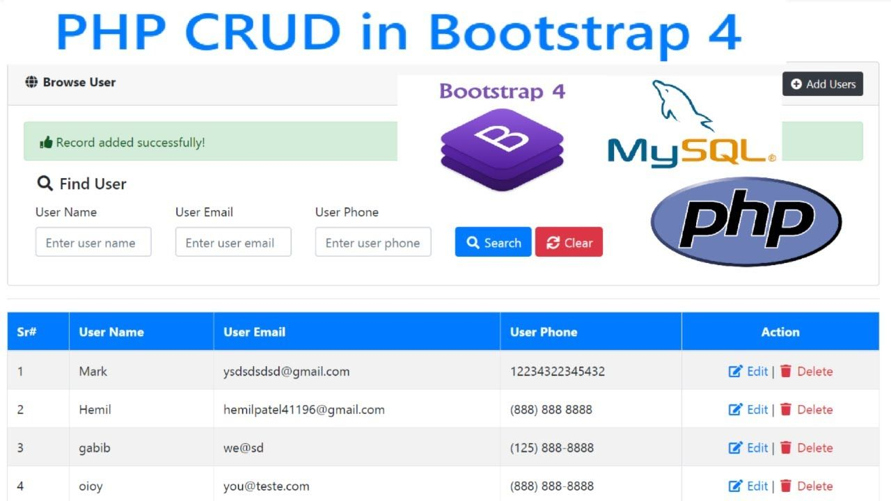 Php Crud Create Read Update Delete Tutorial With Mysql Bootstrap Programming Tutorial Learn Programming Mysql