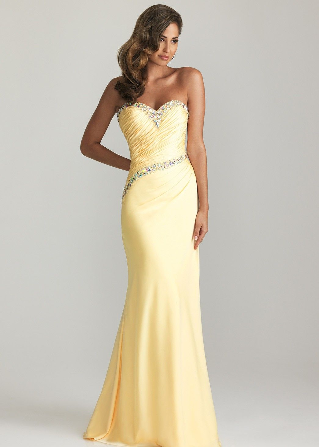 Beautifully Beaded Yellow Strapless Prom Dress - Evening Gown - Night Moves 6608 - RissyRoos.com