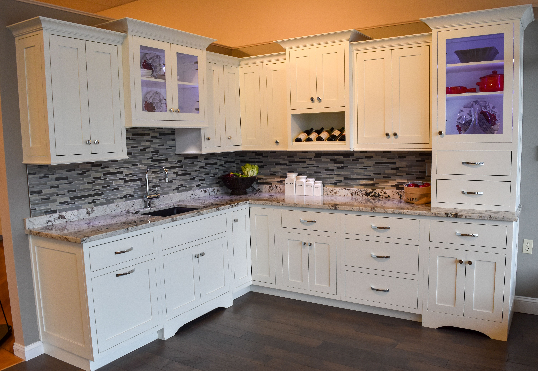 Shiloh Homestead Flush Inset Painted Cabinets In A Polar White Finish Granite Alaska Whi Kitchen Remodel Kitchen Cabinets In Bathroom Kitchen Bathroom Remodel