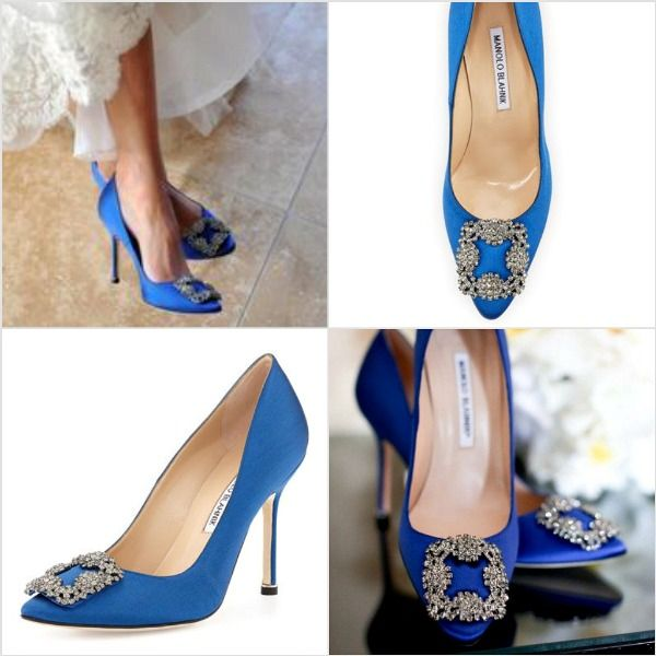 6073cf009 The real McCoy s  Carrie Bradshaw s coveted blue Manolo Blahnik s. Now  selling for  965 at Neiman s.