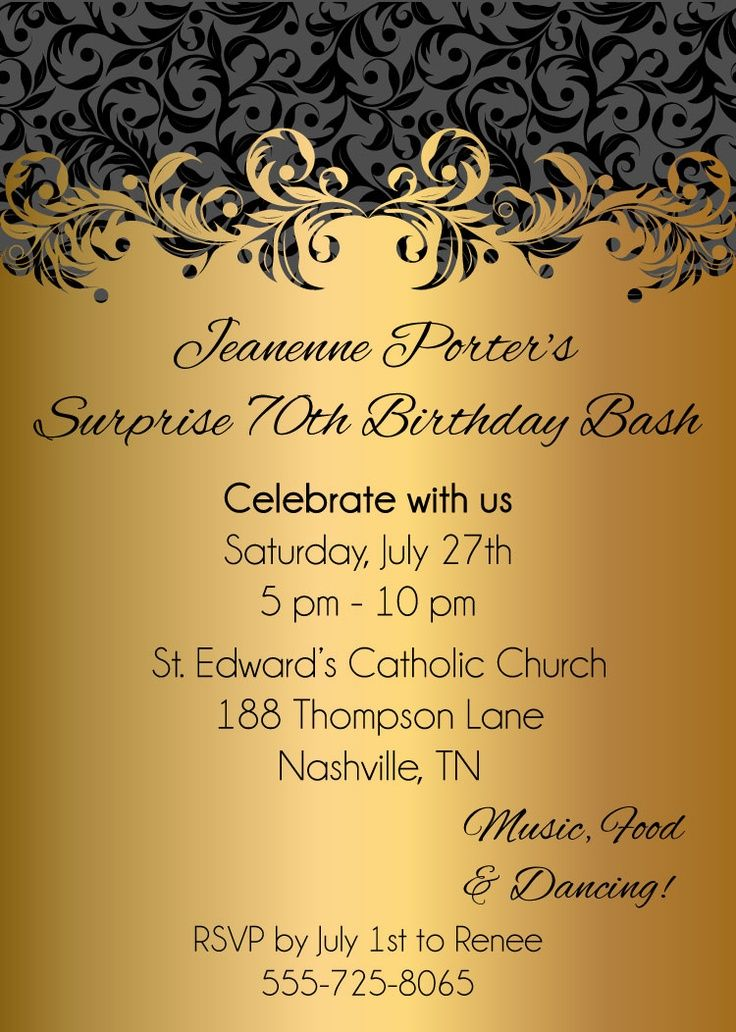 70th birthday invitation Gold Glitter Birthday Party invite – Golden Birthday Invitation