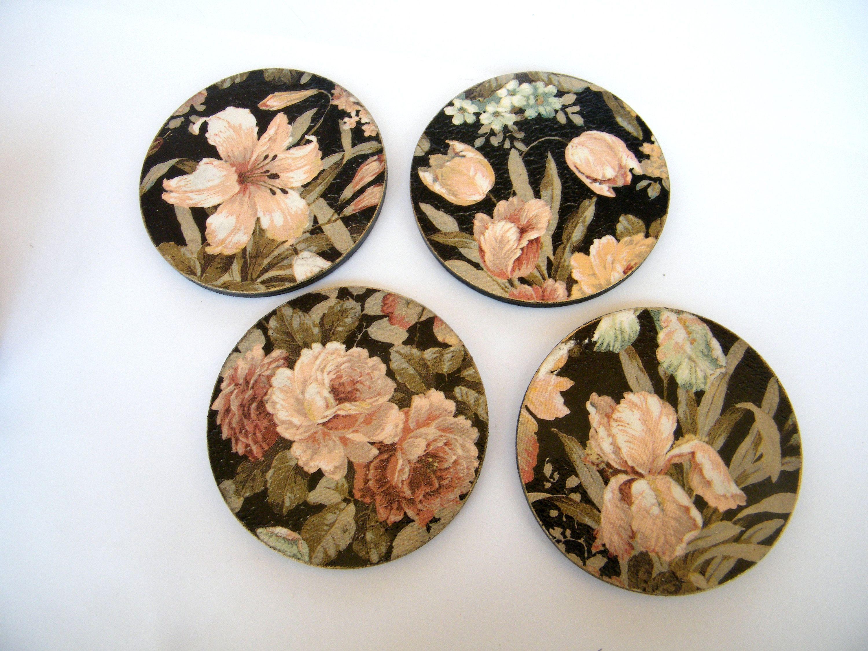 Floral Coaster Set Tableware 6 Wooden Placemats Decorative Etsy Vintage Flowers Flower Cup Tableware