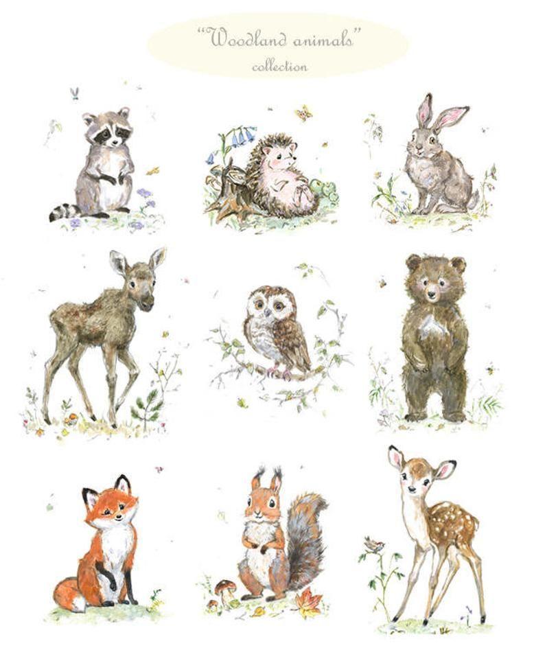 Wald Kinderzimmer Dekor Satz von Drucken Wald Baby Tiere