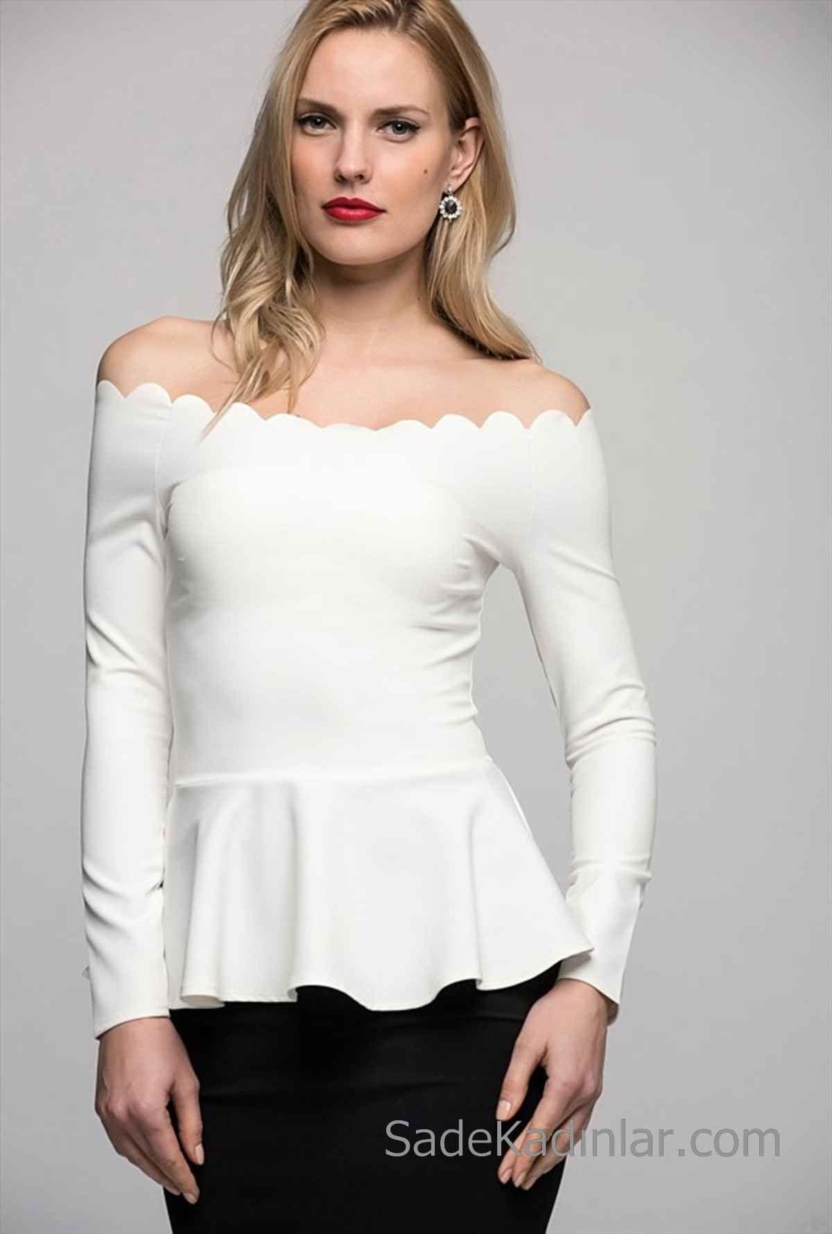 2019 Kayik Yaka Bluz Modelleri Beyaz Uzun Kollu Etek Kismi Firfirli Uzun Kollu Moda Stilleri Bluz Modelleri