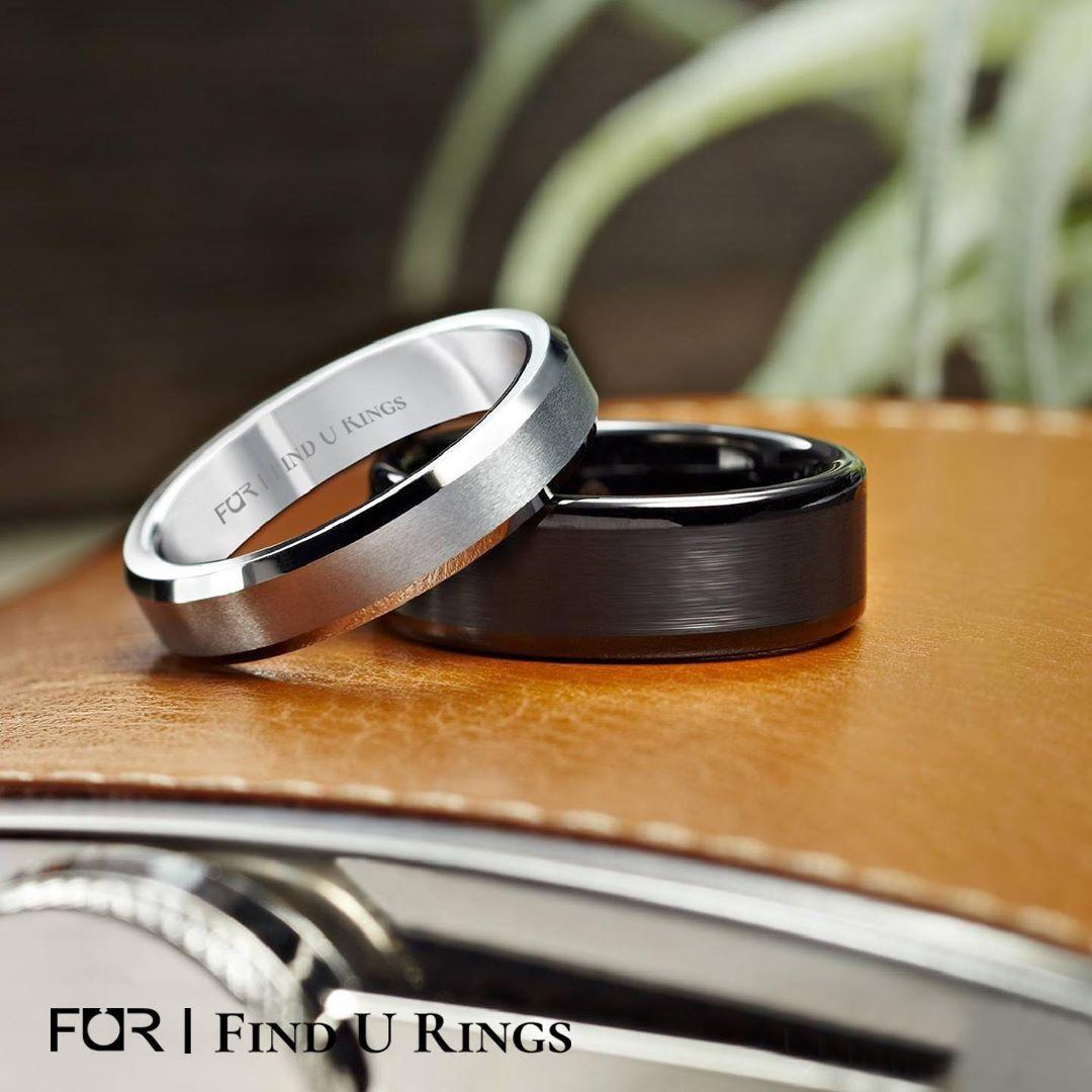 Silver Tungsten Wedding Bands for Men Women Brushed Center