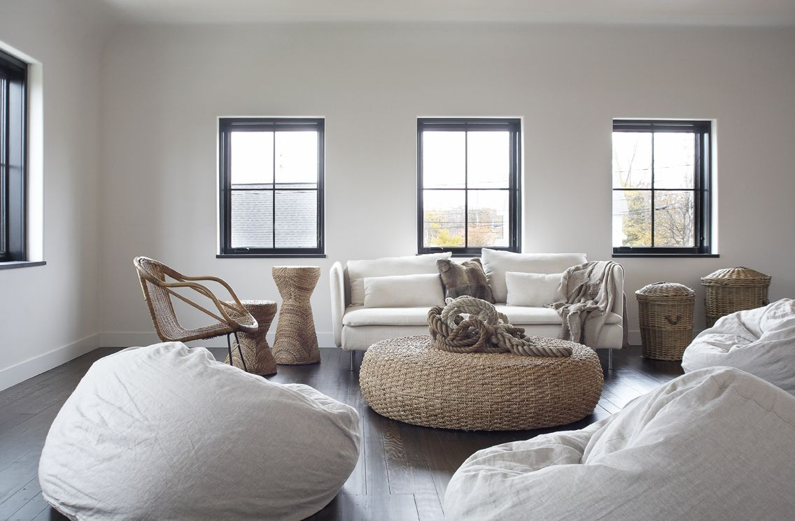 Leo designs chicago modern gallery family room seating - How to decorate living room with bean bags ...
