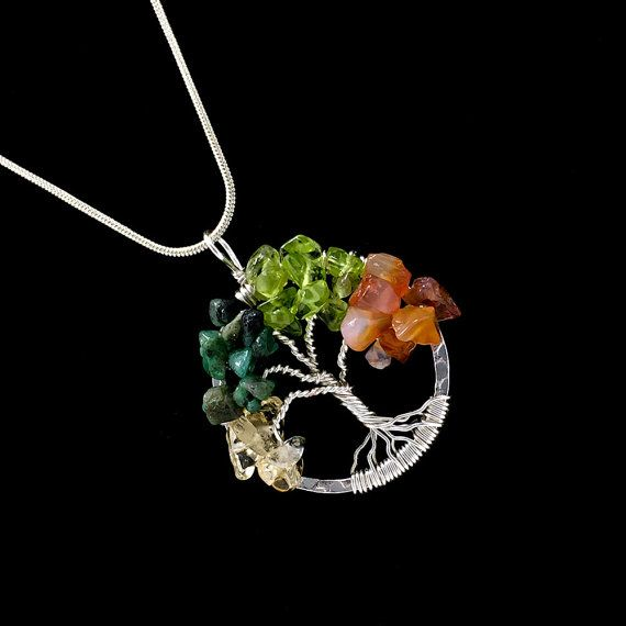 Tree of life necklace pendant gemstone tree by groundzerocreations tree of life necklace pendant gemstone tree by groundzerocreations aloadofball Images