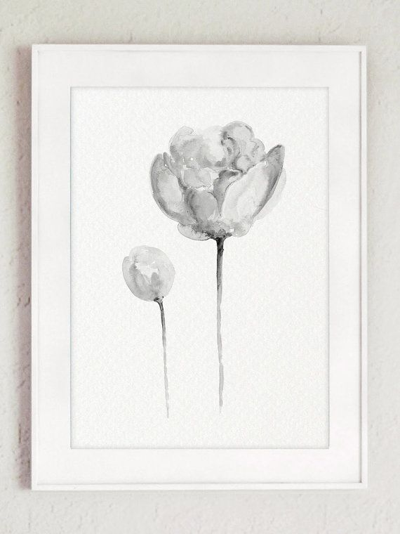 Three Peonies Clipart Black White Abstract Floral Watercolor