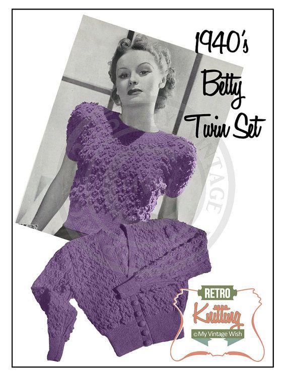Women's Betty Twinset 1940's Vintage Knitting Pattern - PDF Instant Download