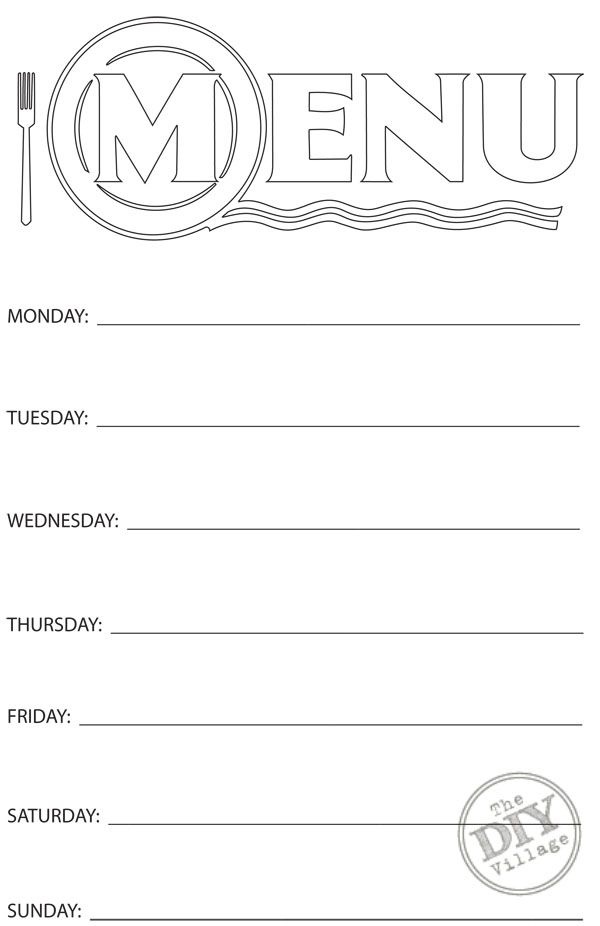 Free printable weekly menu planner weekly menu planners for Free printable menu templates for kids