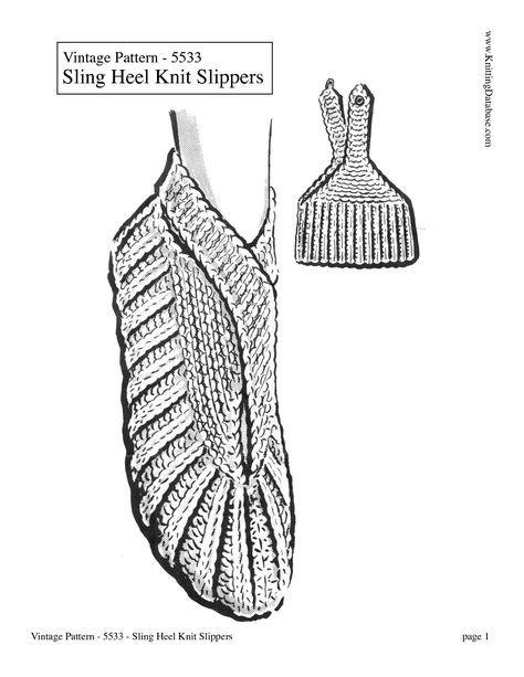 Knit sling back slippers, free vintage pattern