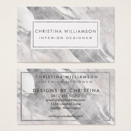Professional Interior Design Elegant Silver Marble Business Card ...