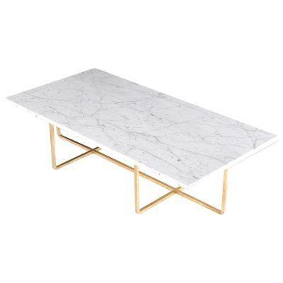 Stylizimo - Design Voice - Ninety sofabord 120x60x40, hvit marmor/messing