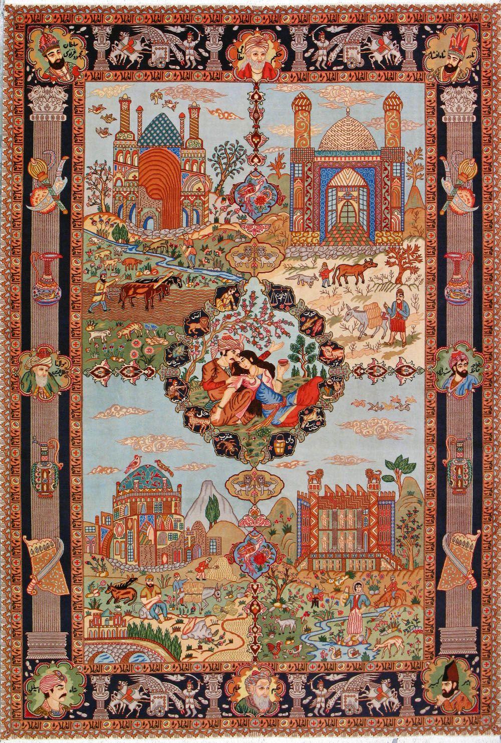 Tabriz Famous Historical Figures Places Silk Persian Rug Item Custom Order Size