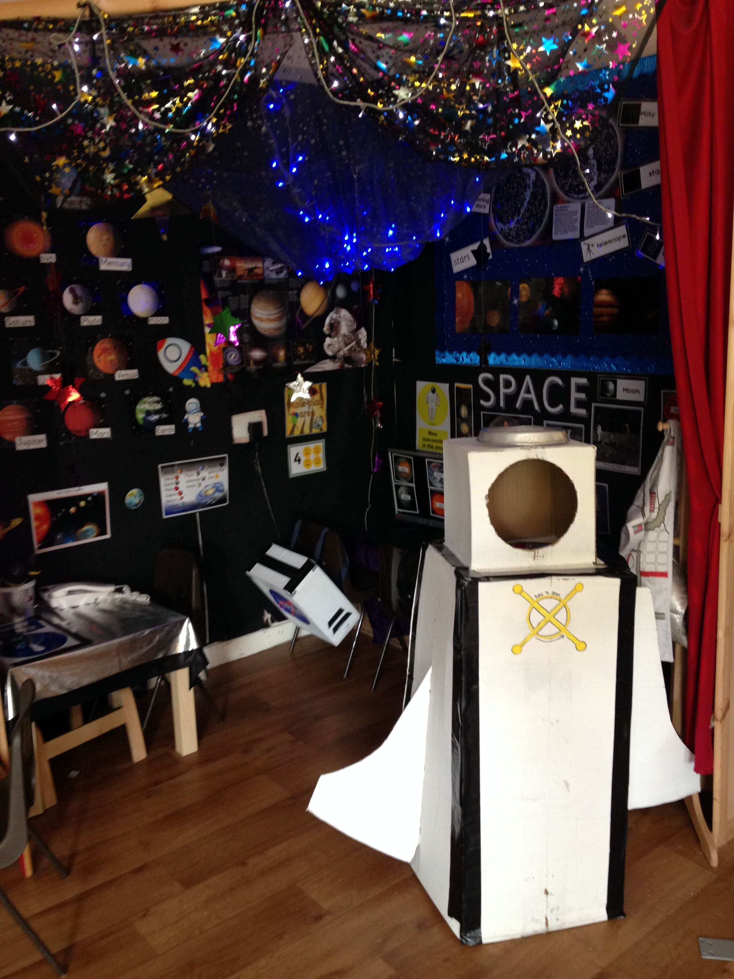 Space station rocket role play area in reception space theme classroom space theme preschool