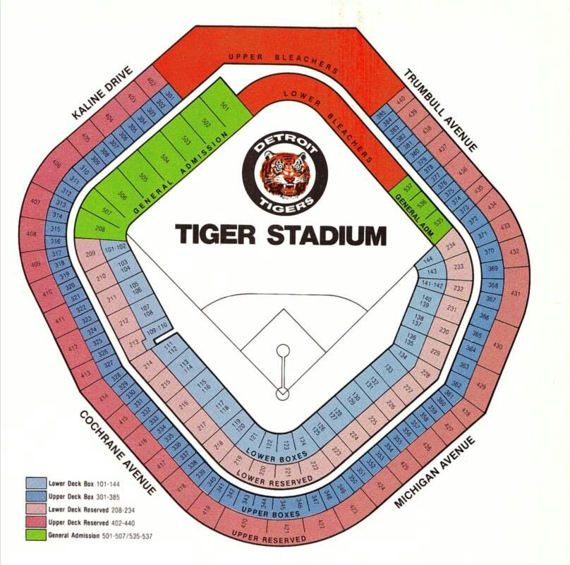 Seating Chart Of The Former Tiger Stadium In Detroit Mi Tiger Stadium Detroit Tigers Detroit