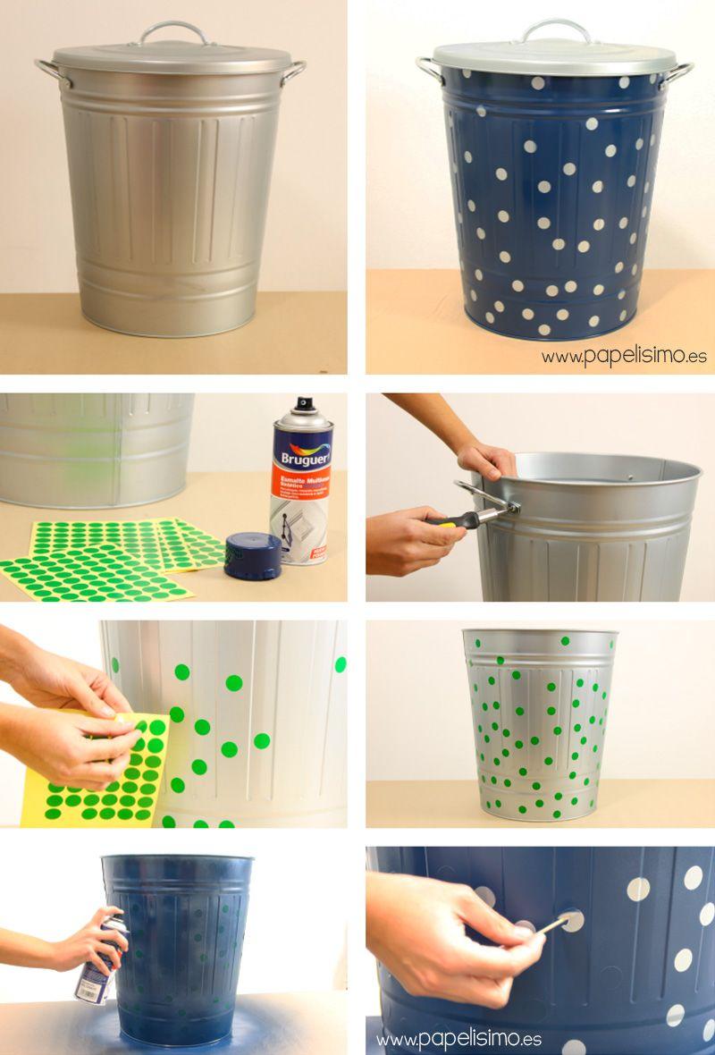 Como pintar cesto cubo de metal con spray papelisimo for Pintar muebles con spray