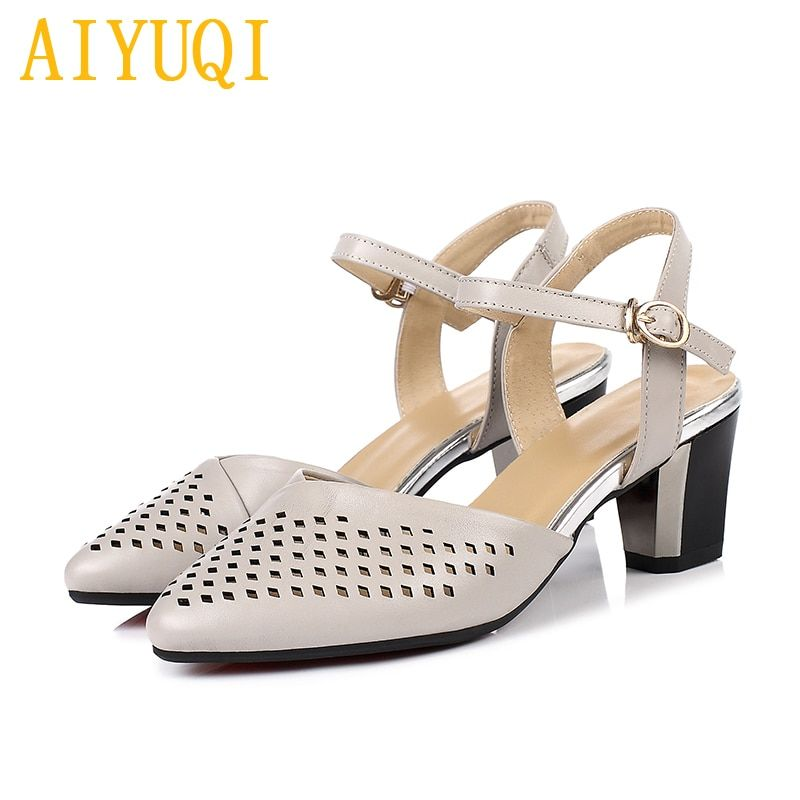 New Size 34-40 Genuine Leather Black Women Shoes Woman Sandals Nature Cow Leather,