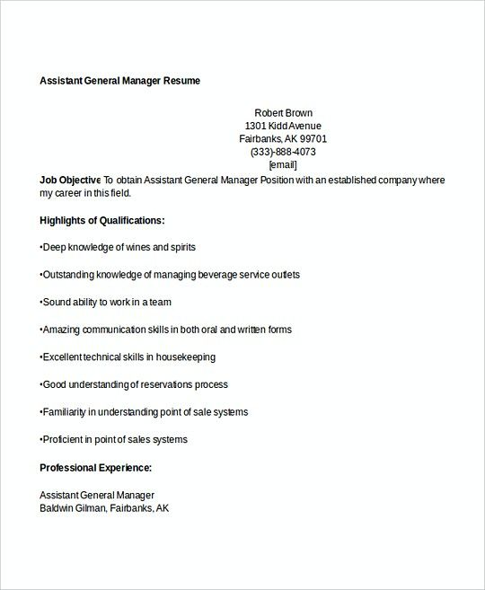 Assistant General Manager resume template , Professional Manager - resume template for manager position