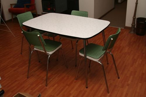 Retro Formica Laminate 5 Pce Dining Setting 4 Chairs And Table