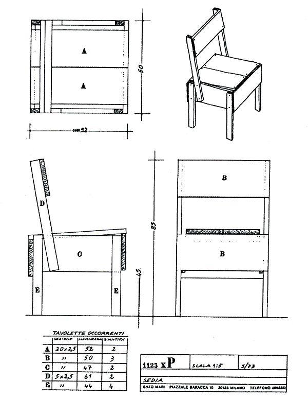 sedia 1 design enzo mari second round projects pinterest technische zeichnung diy m bel. Black Bedroom Furniture Sets. Home Design Ideas