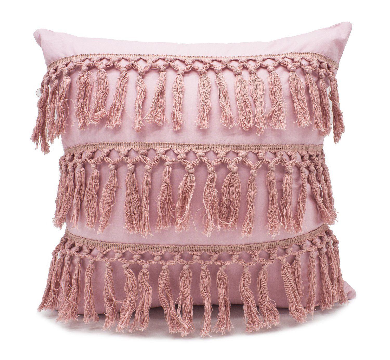 08b68c7454e Amazon.com  Fennco Styles Stylish Fringe Tassels Decorative Cotton Throw  Pillow (Pink