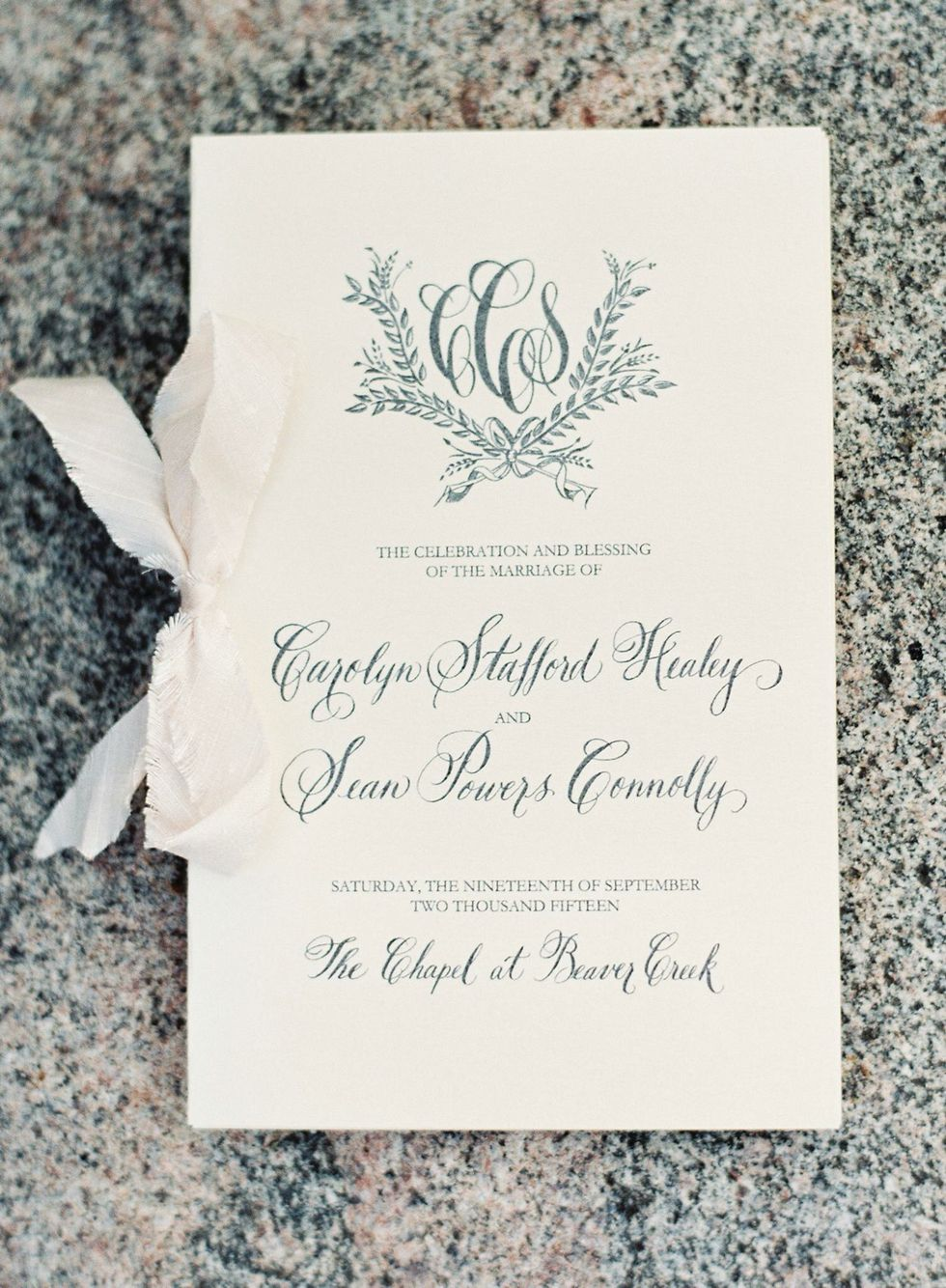Custom monogram wedding program in hand calligraphy. | My ...