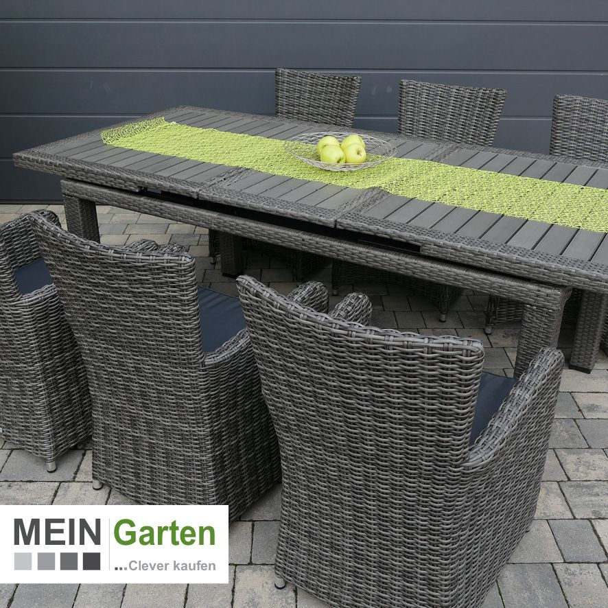 Gartenmobel Rattan Polyrattan Sitzgruppe Taneo Tisch Ausziehbar