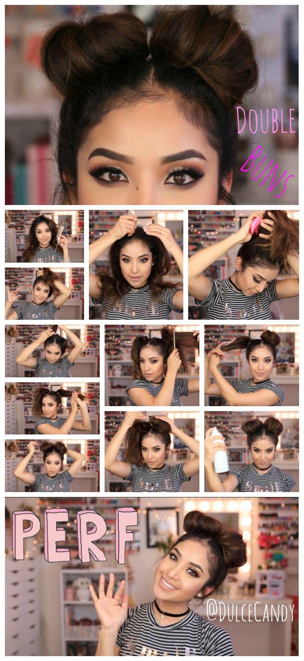 Cute double bun hair tutorial hair pinterest bun hair