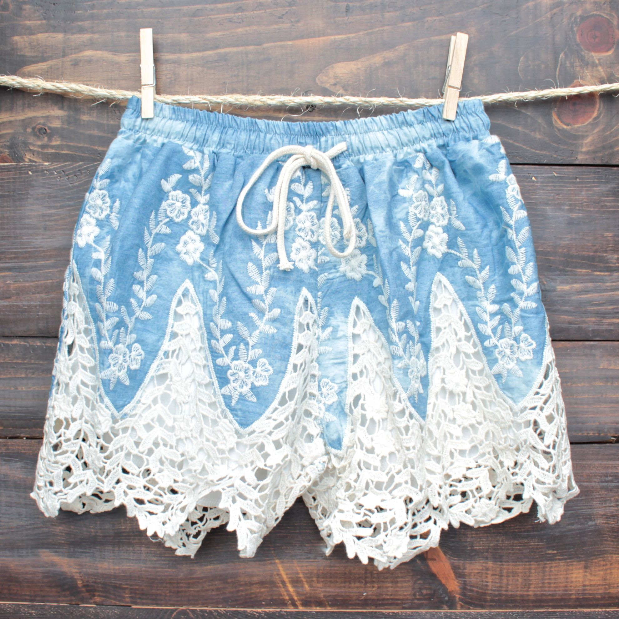 boho dreams high waisted shorts - denim crochet