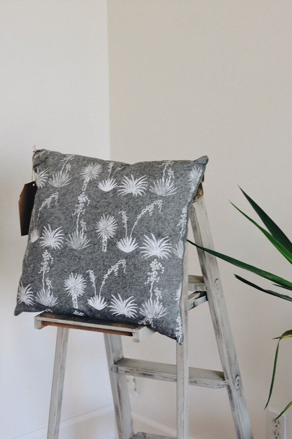 Gray Linen and Canvas Printed Yucca Plant Pillow by crownandoak, southwest decor, Texas Decor, throw pillow, couch pillow, hand screen printed pillow in charcoal or gray