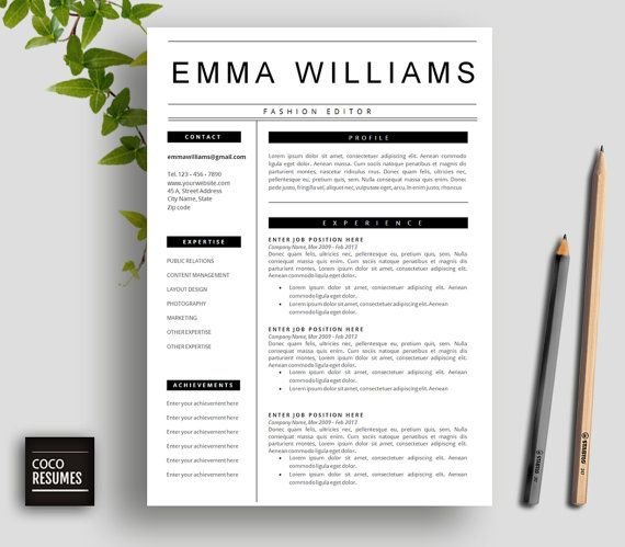 Resume Template 3 page CV Template Cover Letter by CocoResumes