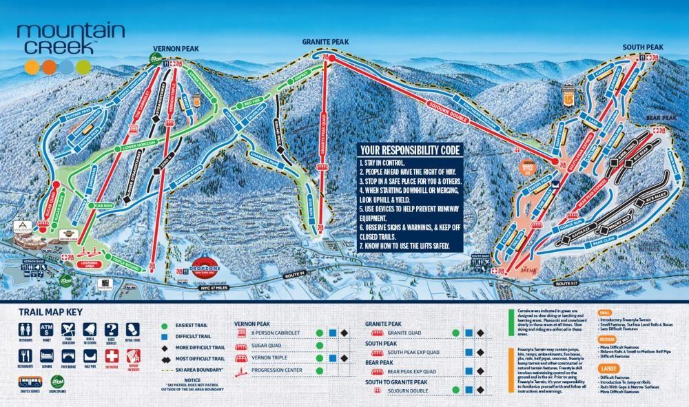 Mountain Creek Resort Trail Map NYNJPA Ski Area Places - Beaver creek ski trail map