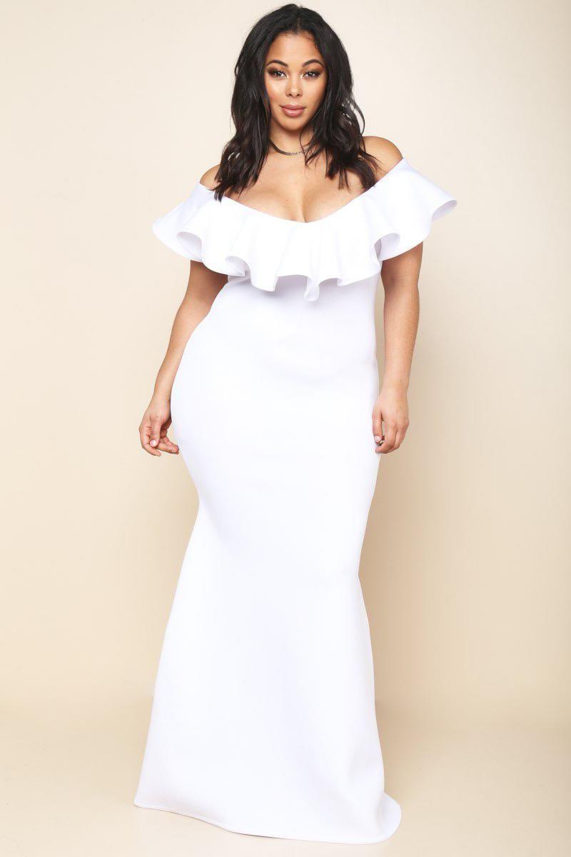 Plus size ruffled offshoulder mermaid dress dresses gs