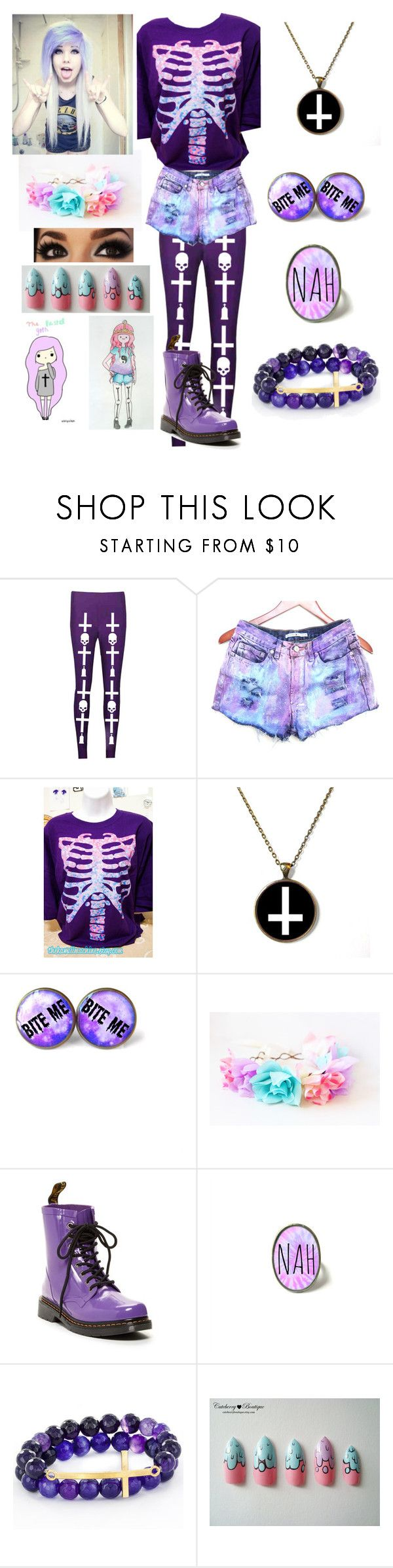 """""""Pastel Goth"""" by alexdacko ❤ liked on Polyvore featuring Dr. Martens and West Coast Jewelry"""