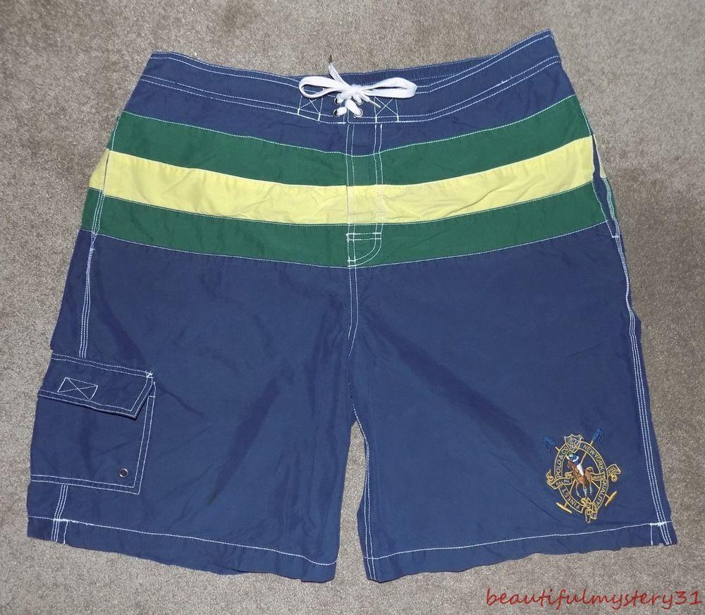 blue polo swim trunks polo horse logo