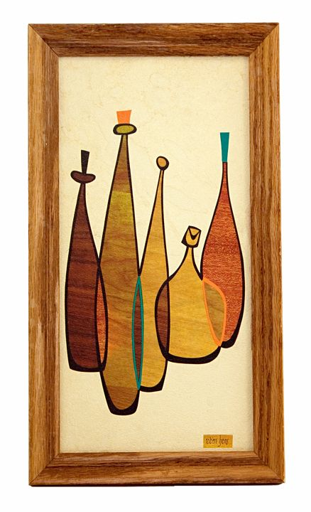 Retro Art Glass Robert Lyons Mid Century Blenko Decanter Wall Art ...