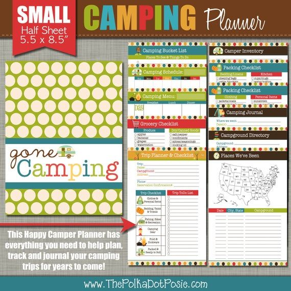 Happy Camper Planner Printable Set Sized Small 5.5 x ...