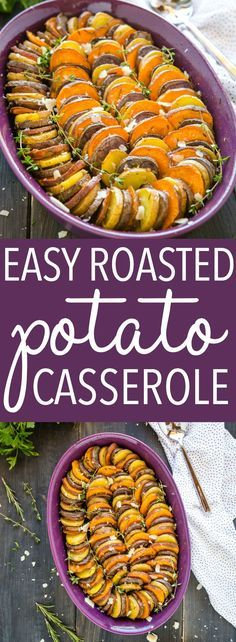 This Easy Roasted Potato Casserole is made with red purple and sweet potatoes and it's the perfect side dish! Thinly sliced potatoes roasted with garlic and herbs! Recipe from thebusybaker.ca! #potatoes #sweetpotatoes #purplepotatoes #mandolin #sliced #casserole #sidedish #holidays #healthy