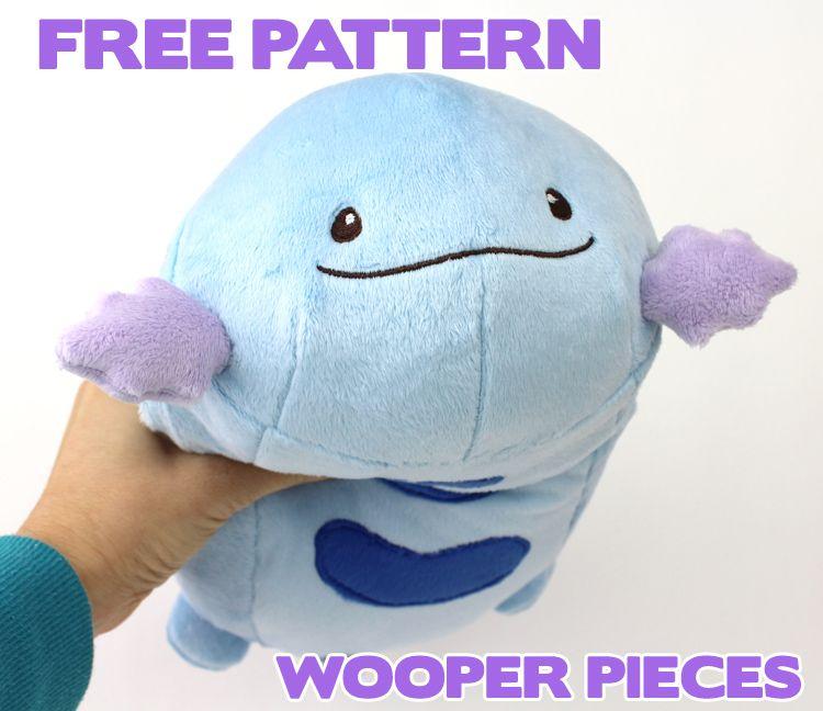 Free Pokemon plush sewing pattern: Wooper pieces | Plushie ...