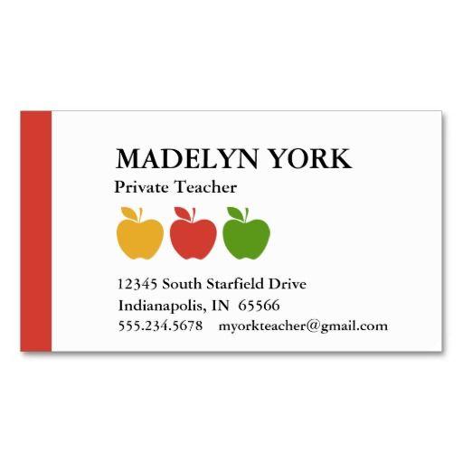 Substitute Teacher Business Card Template | Tutor Business Cards ...