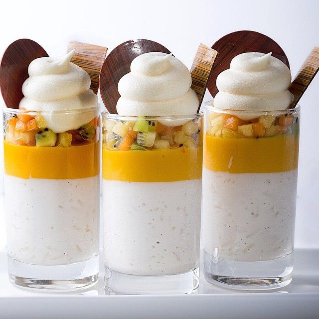 Coconut rice pudding , mango cremeux,tropical fruit , passion fruit foam photo by @saritig13 for my class in Tel Aviv with @peckale #bachour