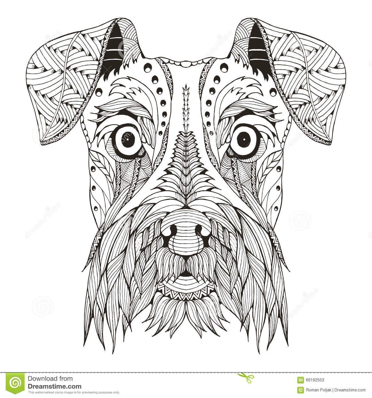 Zentangle Dogs Schnauzer Dog Head Zentangle Stylized Vector