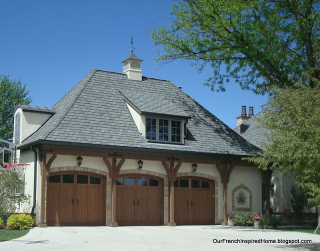 Our French Inspired Home European Style Garages And Garage Doors Garage Door Styles French Country Exterior Garage Style