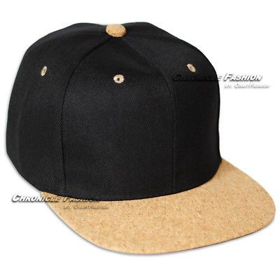 37b2d128e23f87 Baseball-Cap-Snapback-Hat-Adjustable-Flat-Cork-Visor-Plain-Cap-Blank-Black