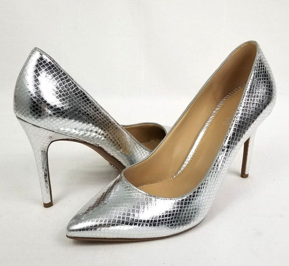 3ceac742c404 Michael Kors Claire Leather Pump Metallic Silver Snakeskin Embossed ...