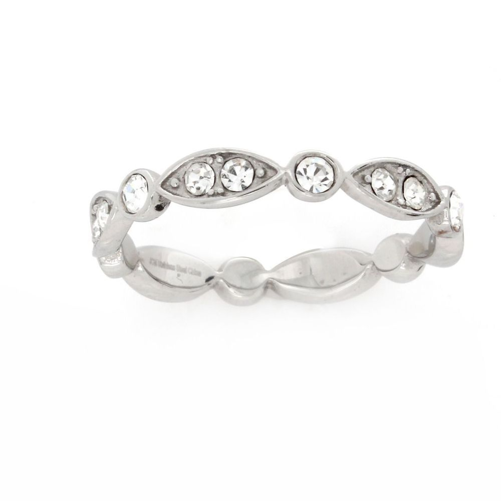 Qvc Steel By Design Marquise Round Clear Crystal Stainless Ring